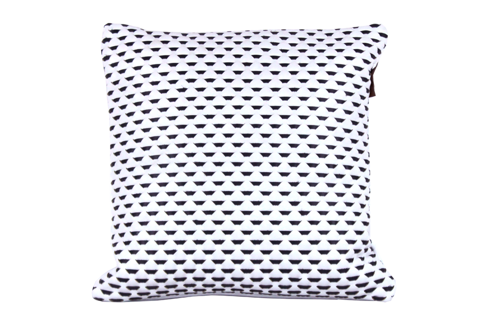 Coussin carré 40x40cm en cuir nappa blanc tissé avec des lanières bleu marine