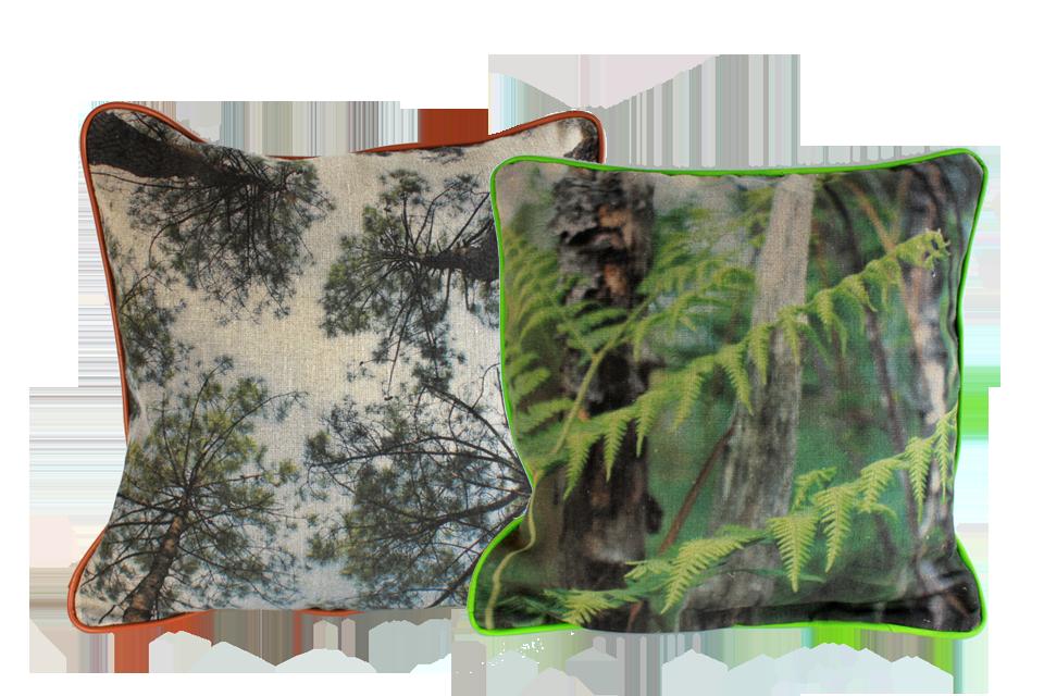 Coussins en lin, impression de photographies et passepoil en cuir