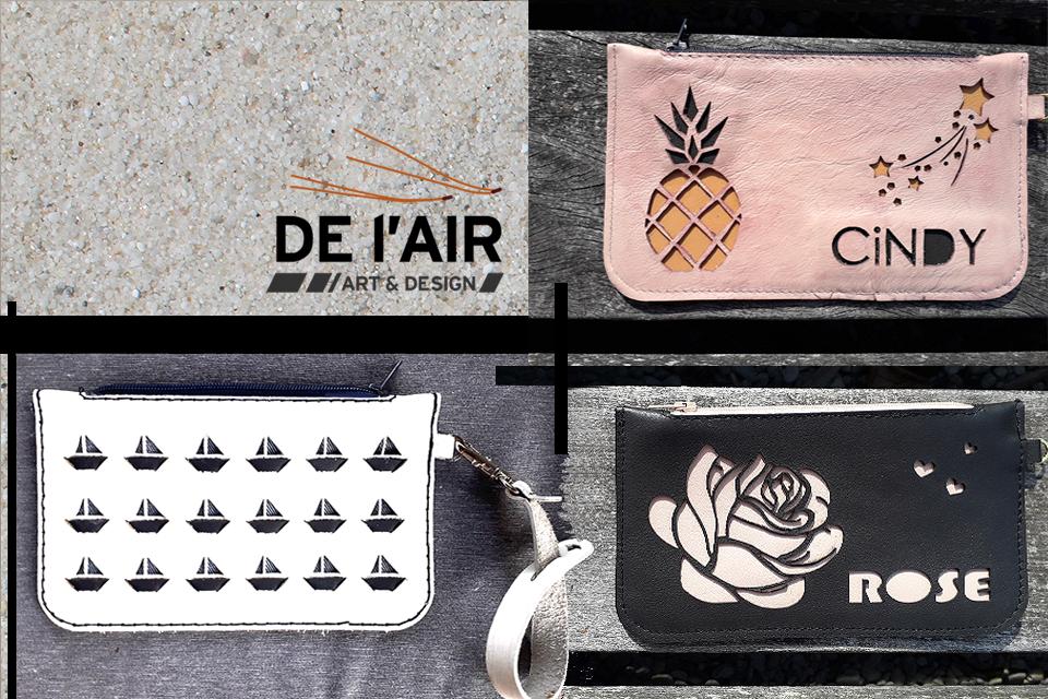 Petites pochettes en cuir - exemple de tissage et de personnalisation