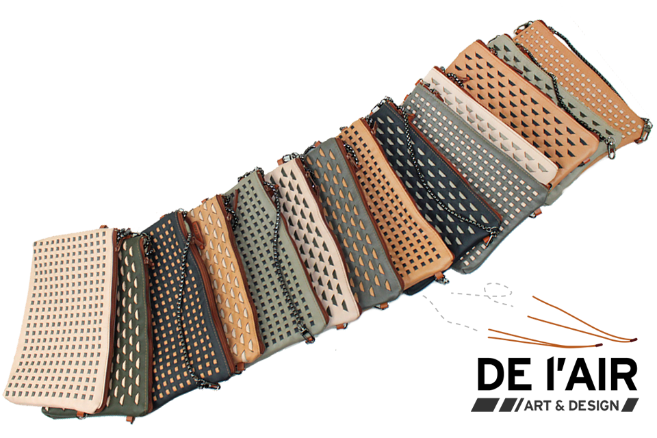 Ensemble de pochettes en cuir tissé, collection sahara.