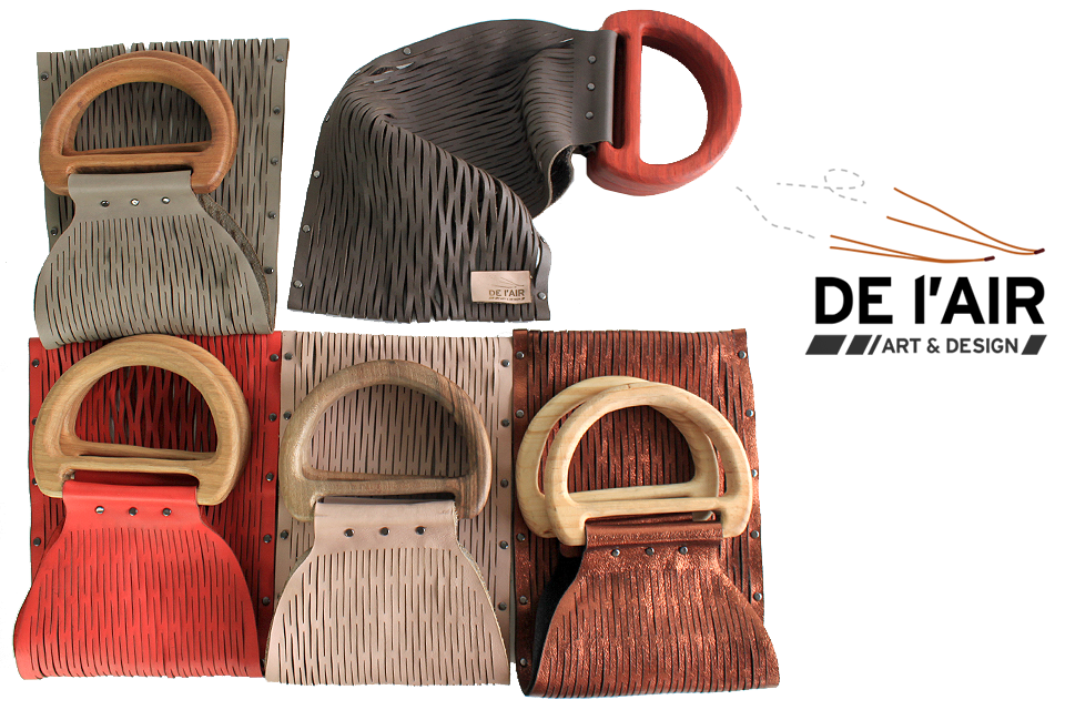 Sacs filet en cuir découpé avec poignet en bois naturel.