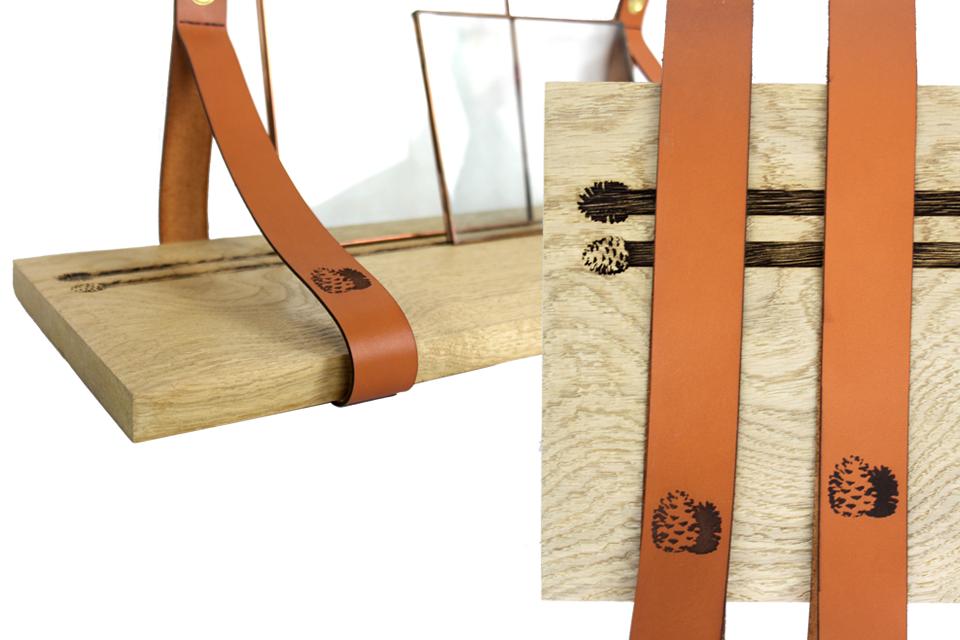 Détails des étagères en chêne et cuir personnalisées