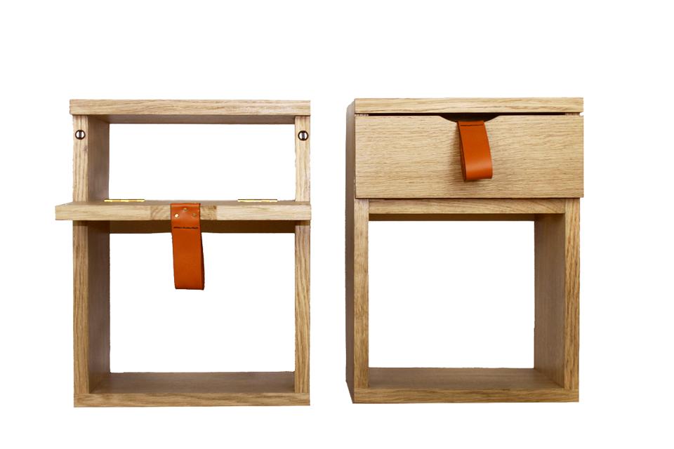 Tables de chevet en chêne et poignets en cuir