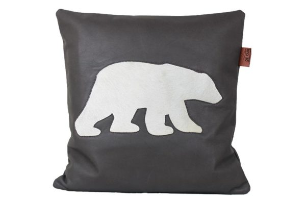 Coussin cuir ours polaire