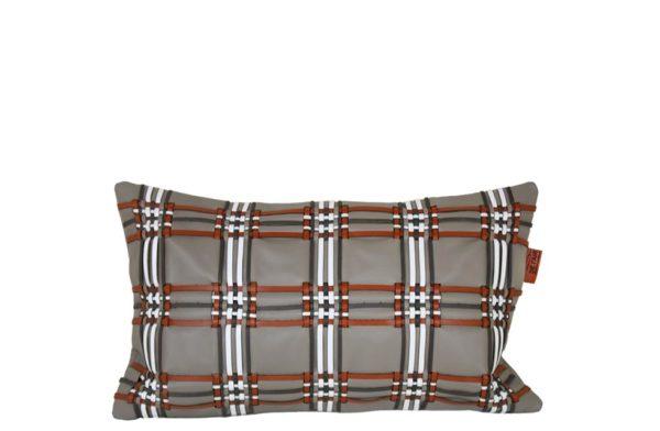 Cousin en cuir tissage écossais