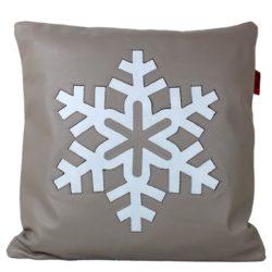 Coussin Flocon de neige en cuir avec patch cousu en cuir bleu clair